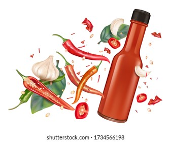 Red chili bottle mock up with chili, garlic splashing elements on solid color background. Vector realistic in 3D illustration.