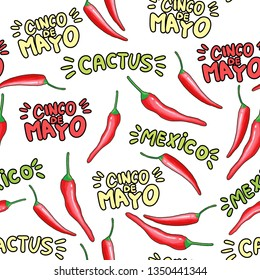 Red chili cartoon seamless pattern. Hot chilli peppers doodle texture. Cinco de Mayo, cactus hand drawn stylized lettering. Mexican holiday background. Spicy vegetable wrapping paper vector fill