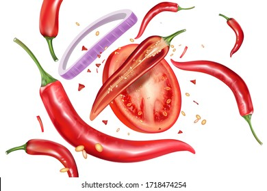 Red chili flying with chili splashing elements ads isolated on white background. Vector realistic in 3D illustration.