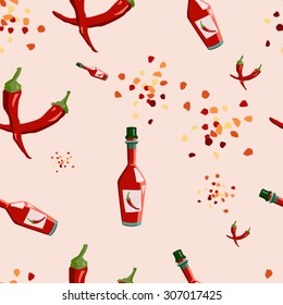 Red chili hot pepper seamless texture vector illustration