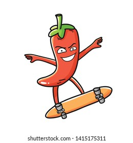Red chili pepper funny cartoon character