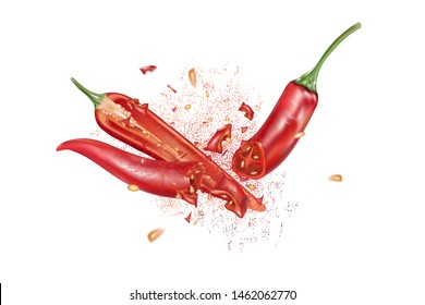 Red chili pepper with chili splashing elements ads isolated on white background, Vector realistic in 3D illustration.