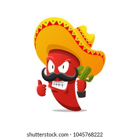 Red chili pepper vector illustration. Hot spicy cartoon funny character. Traditional mexican ingredient with hat, mustache and cactus.
