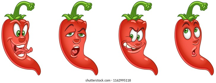 Red Chili Pepper. Vegetable Food concept. Emoji Emoticon collection. Cartoon characters for kids coloring book, colouring pages, t-shirt print, icon, logo, label, patch, sticker.