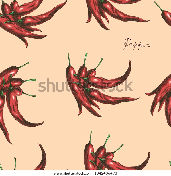 Red chili peppers seamless pattern.