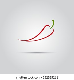 red chili vector logo of fine lines