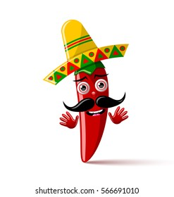 Red chilli pepper character with sombrero hat on white background