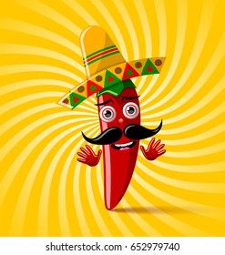 Red chilli pepper character with sombrero hat on twisted background