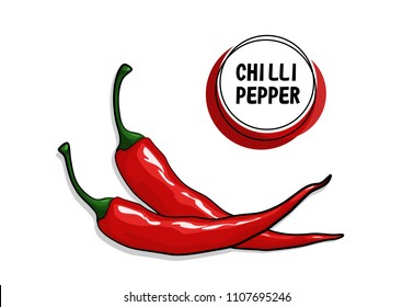 Red chilli pepper isolated on white background. Healthy organic food. Image with shadow for culinary products and recipes vector illustration. Vegetarian food drawing. Super hot chilli pepper.