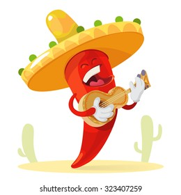 Red chilli pepper in a sombrero plays guitar