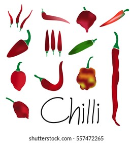red chilli peppers types of hot chillies simple colorful collection eps10