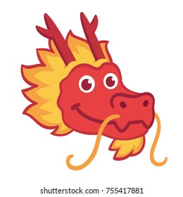 Red Chinese dragon head icon in cute cartoon style. Chinese New Year symbol, vector illustration.