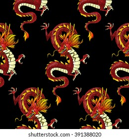Red Chinese Dragon on black background. Vector seamless pattern