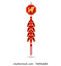 Red chinese firecracker flat icon. Vector illustration.