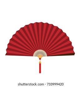 Red Chinese folding fan on white background.Vector illustration design for Chinese New Year card or background.