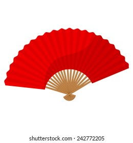 Red chinese folding hand fan vector isolated on white