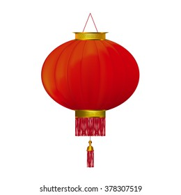 Red chinese lantern isolated on white background