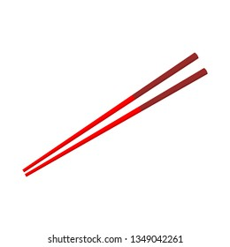red chopsticks isolated on white background. vector illustration