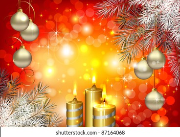 Red Christmas background with burning candles and Christmas bauble