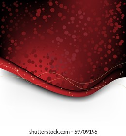 Red Christmas background with candy and stars