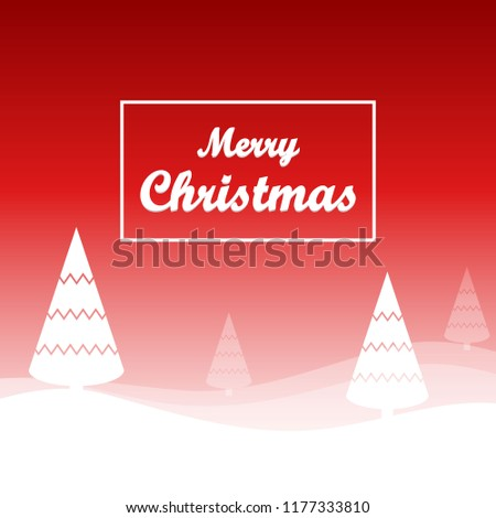Red Christmas Background Decorative Tree Snow Stock Vector Royalty