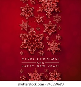 Red Christmas background with Glittery Snowflakes