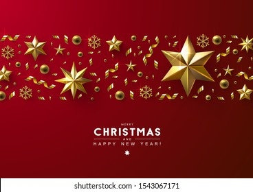 Red Christmas Background with Horizontal Border made of Cutout Gold Foil Stars,  Beads and Confetti. Chic Christmas Greeting Card.