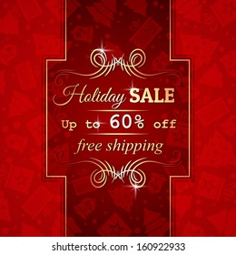 red christmas background and label with sale offer, vector illustration