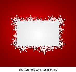 Red Christmas background with paper snowflakes.