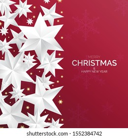 Red christmas background with sparkling silver stars