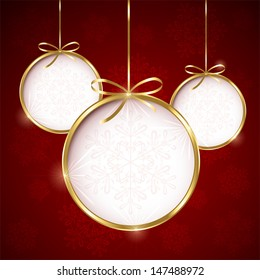 Red Christmas background with three bauble, illustration.