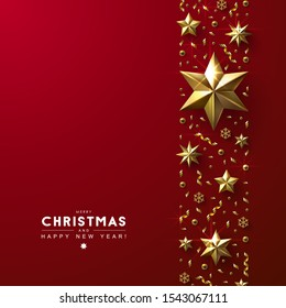 Red Christmas Background with Vertical Border made of Cutout Gold Foil Stars,  Beads and Confetti. Chic Christmas Greeting Card.