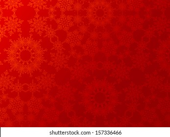 Red Christmas background. Vintage snowflakes. EPS 8. Festive background for your design. Christmas template. Space for your text. All objects are on separate layers.