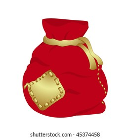 Red Christmas bag isolated on white background