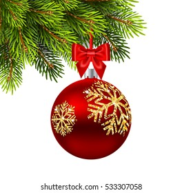 Red Christmas Ball with bow on white background. Vector illustration
