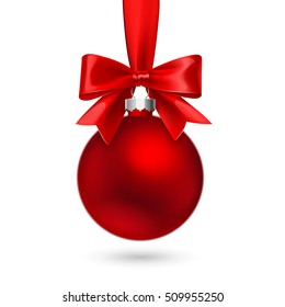 Red Christmas ball with bow and ribbon on white background. Vector illustration