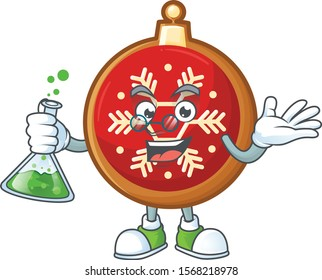 Red christmas ball as a funny professor cartoon character holding glass tube.