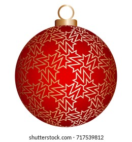 Red christmas ball with gold pattern.