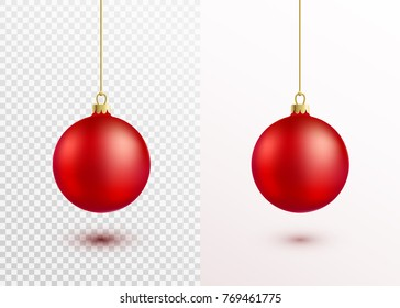 Red christmas ball hanging on gold string isolated on white and transparent background. Realistic xmas decoration with shadow and light