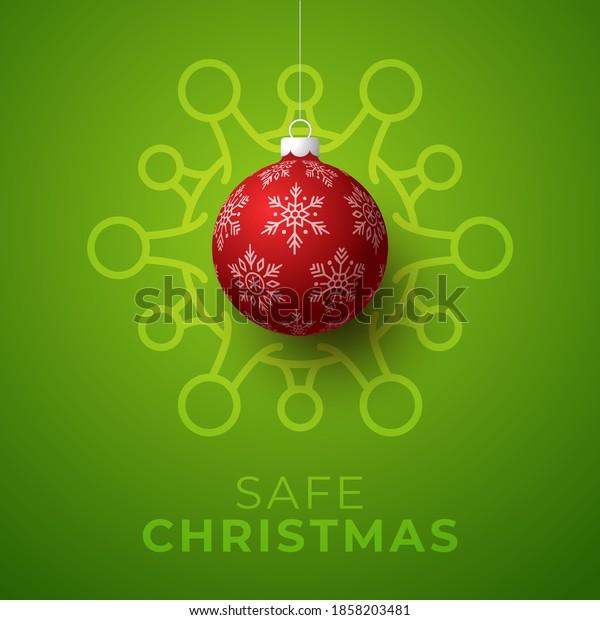 Red christmas ball and Quarantine coronavirus danger. Coronavirus Covid-19 and christmas or new year canceled concept. Vector illustration