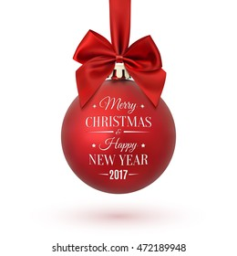 Red Christmas ball with ribbon and a bow, isolated on white background. Merry Christmas and Happy New Year 2017. Vector illustration.