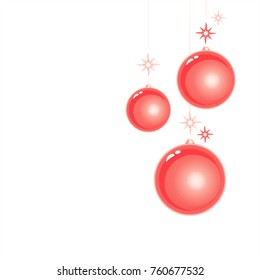 Red Christmas balls isolated on White background. Vector EPS 10 cmyk