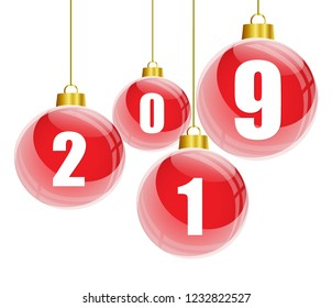 Red christmas balls with the numbers of new year 2019