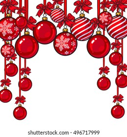 Red Christmas balls with red ribbon and bows, sketch style vector template for greeting card. Frame or border of hanging red Christmas decoration balls - solid, striped and with a snowflake ornament