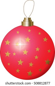 Red Christmas Bauble with Gold Stars