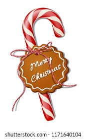 Red Christmas candy cane with red striped ribbon and cookie with Merry Christmas text. Vector Christmas design element