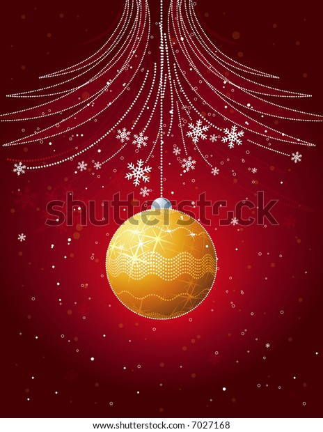 red christmas card with golden  ball, vector