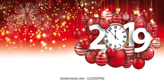 Red christmas card with hanging red baubles, fireworks, clock and date 2019. Eps 10 vector file.