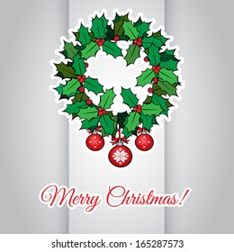 Red christmas card with a holly wreath Vector illustration