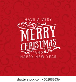 Red Christmas Card with Ornaments and Greetings